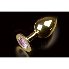 Большая золотая анальная пробка с закругленным кончиком и розовым кристаллом - 9 см.