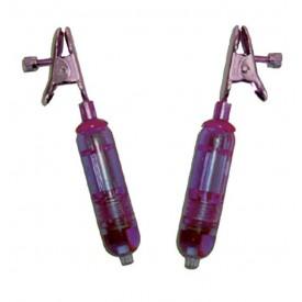 Фиолетовые виброклипсы для груди VIBRATING NIPPLE CLAMPS