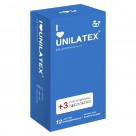 Классические презервативы Unilatex Natural Plain - 12 шт. + 3 шт. в подарок