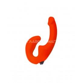 Оранжевый анатомический страпон с вибрацией