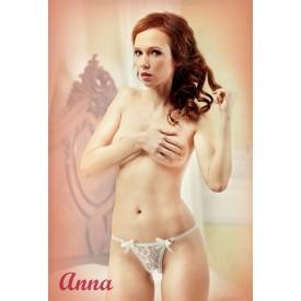 Ажурные белые трусики-стринги с доступом Anna